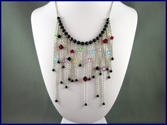 Swarovski Crystal Necklace multi colour on rhodium plated chains: Falling Drops