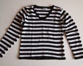 White and black striped Lacoste women's sweater knit size small