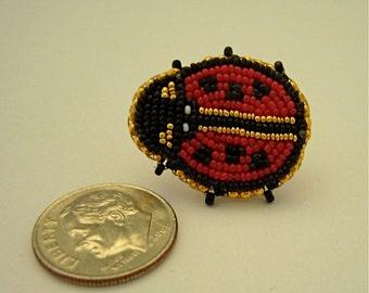beaded ladybug pin