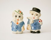 Vintage ceramic Funny Couple Salt and Pepper man woman