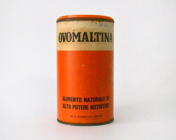 Vintage Ovomaltina Tin orange white black cylindrical