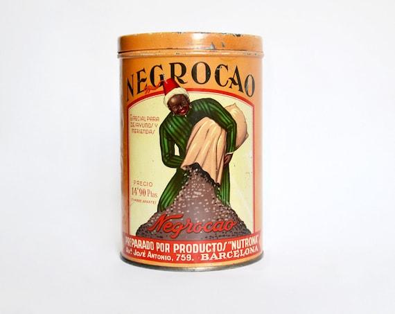 Reserved for Koen - Vintage Negrocao Tin box orange Spain