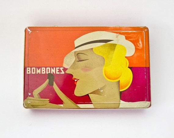 Vintage Tin box deep red orange yellow woman chocolate Spain
