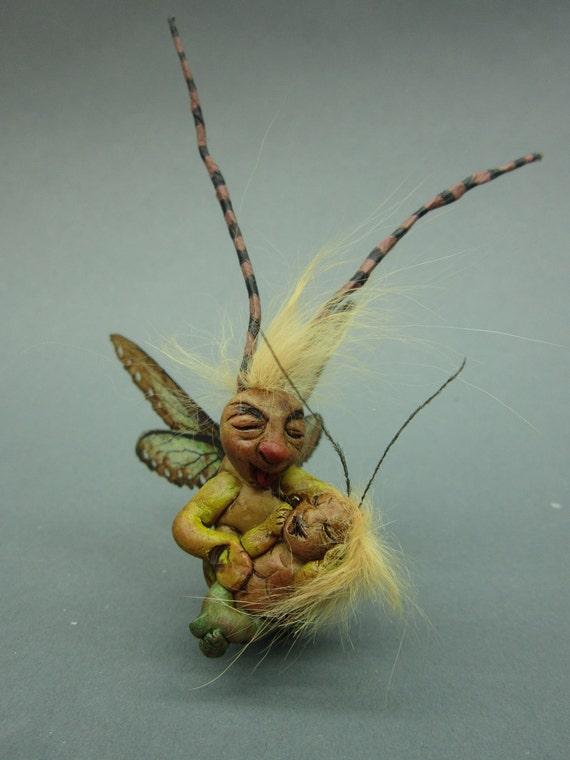 GrassPappa OOAK Fairy friend pet art doll sculpture critter fae pixie insect dad baby grasshopper