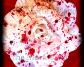 Blood Rose Rhinestone Fascinator / Brooch