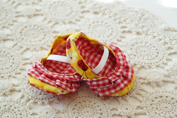 Yellow and Red Ladybug Ruffled Infant Shoes