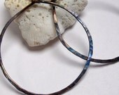 Large Hammered Copper Wire Hoop Earrings, Royal Blue Patina, Thin, Lightweight