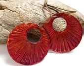 Red Patina Copper Disk Earrings, Textured, Round, Dark Brown Copper Earwires, Bold Statement