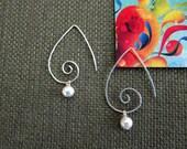 Sterling silver hoop earrings, freshwater pearl, wedding