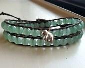 Green Aventurine Wrap Bracelet with Elephant Charm