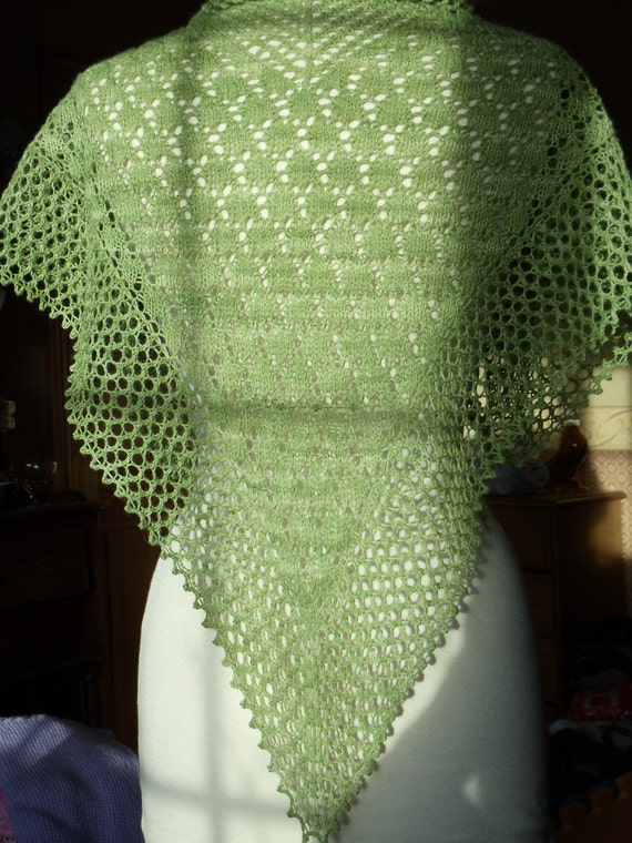 Lace Shawl Knitting Pattern 4 ply Fingering by TheWoollyKnitter