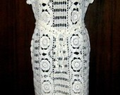 PRICE REDUCED -Handmade lace crochet dress- replica fashion style, summer dress, cream mercerized cotton,large size