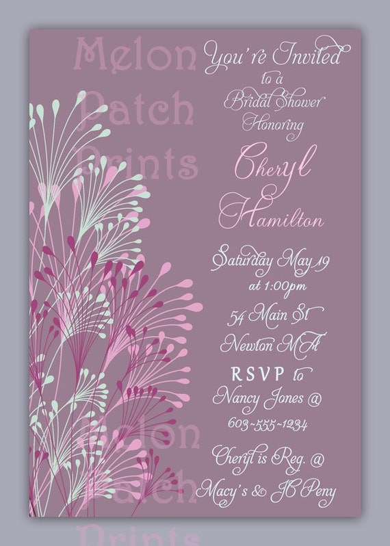 Printable Invitations - Bridal Shower, Baby Shower, Birthday Party, Birth Announcements, Dinner Party -  5 x 7 or 4 x 6  - Invitation - 019