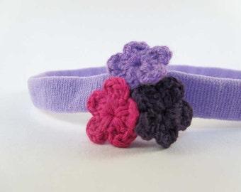 Trio de Crochet - Light Purple Colored Headband // Crochet Flower Cluster Headband // Infant Headband // Newborn Headband // Photo Prop