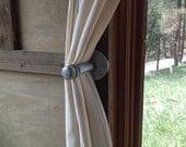 "Industrial Iron Pipe Curtain Pin - Steampunk Chic - ""Uhura"""