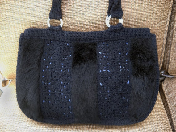Faux fur purse or handbag with hand crochet inserts, women accessories