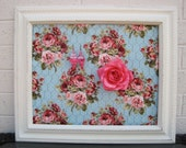 Ornate Beautiful White Antique Distressed Earring Board Vintage Rose Fabric Home Decoration Jewelry Pink