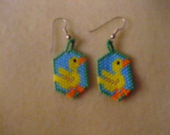 Easter duck earrings