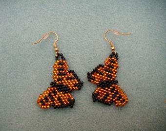 beaded monarch butterfly earrings