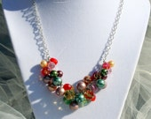 Necklace:Holiday Colorful Glass Bead and Pearl Bauble Jewelry