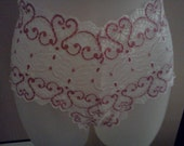 Custom Hand Made Pink Heart Lace Panties. Size small ready to ship