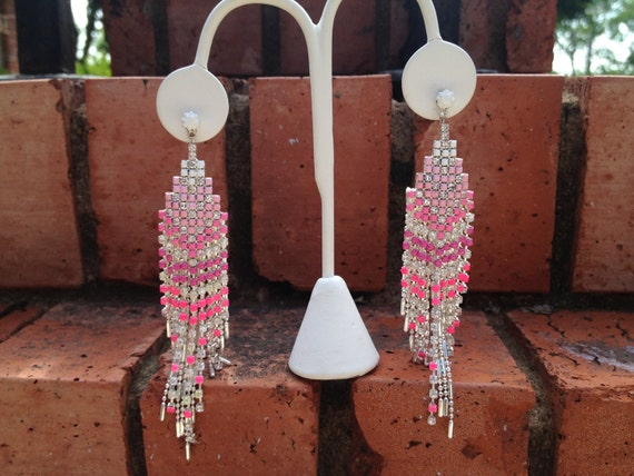 Ombre Pink Neon hand painted long Chandelier Rhinestone Earrings