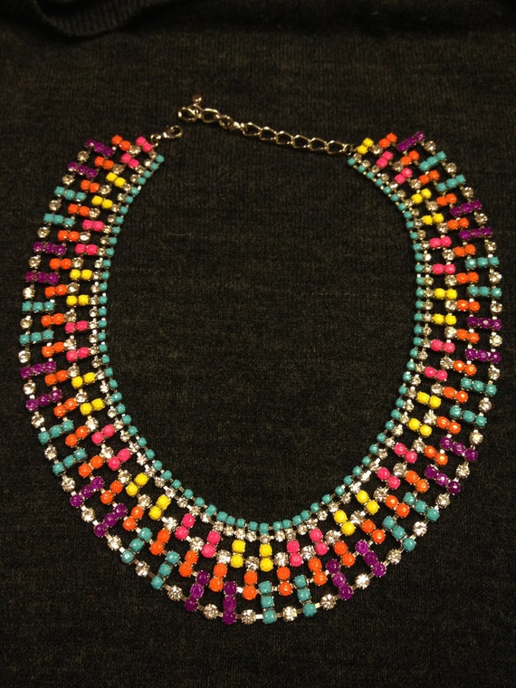 Neon Tom Binns inspired glam hand painted rhinestone statement necklace