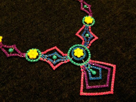 Neon Hand Painted Rhinestone Necklace