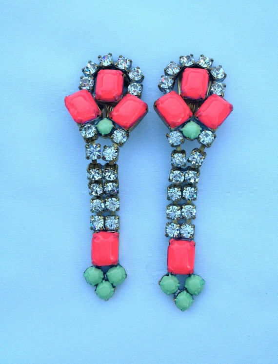 Vintage Neon Hand Painted Rhinestone Earrings