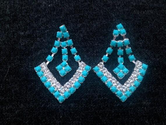 Turquoise Hand Painted Rhinestone Earrings