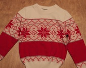 Vintage Red and White Snowflake Pattern Children's Sweater - Never Worn