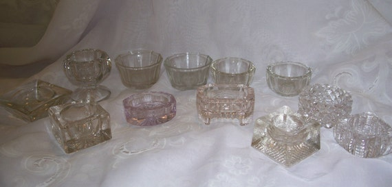 12 Glass Salt Cellars - Enough for a Formal Dining / Dinner Setting