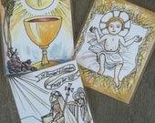 Spiritual Communion, Santo Bambino, and St. Bridget of Sweden Prayer Cards Set of 3