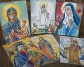 Our Lady Of Czestochowa, Fatima, Perpetual Help, Mount Carmel, Guadalupe and Sorrows Set of 6 Virgin Mary Prayer Cards