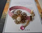 Pink Bracelet with Swarovski Heart