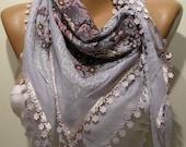 Grey Anatolian Yemeni - Shawl / Scarf with Lace Edge
