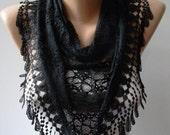 Triangular - Black Lace Shawl / Scarf with Black Trim Edge - Lace Scarf