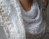 White Lace Shawl Scarf - with Lace Edge Fashion Accessories - Holiday Gift - Women Accessories- Trending Item - Gift Ideas - For Her- Women