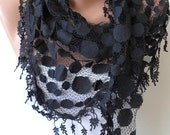 Mother's Day - Black Lace Scarf - Polka Dot Patterned Tulle Scarf with Black Trim
