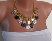 Black and Grey - Button Necklace with Chain - Speacial Design