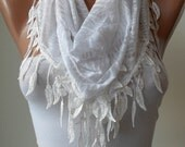 Christmas Gift- White Scarf - Leopard and Cotton Scarf with White Trim Edge - White Leopard Fabric -Triangular