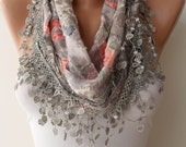 New - Flowered Fabric - Light Grey and Coral Flowered Scarf with Grey Trim Edge