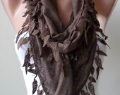 Brown Scarf - with Brown Lace Trim Edge Shaped Leaves
