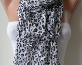 SALE - White - Grey and Black Leopard Scarf for Summer