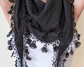 Black Silky Scarf with Black Trim Edge