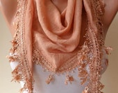 Honey Scarf with Trim Edge - Silky Fabric