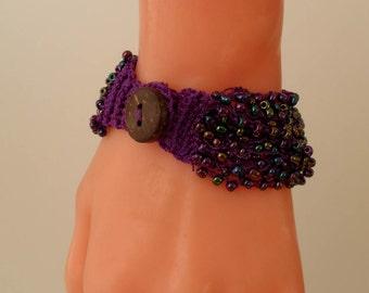 Purple Crochet - Handknit Bracelet - Special Design
