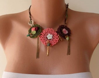 Pink -Green Crochet Necklace with Lace and Fabric Flowers - Speacial Design
