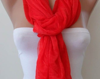 New - Mother's Day Gift - Red Tulle Scarf - Seamless