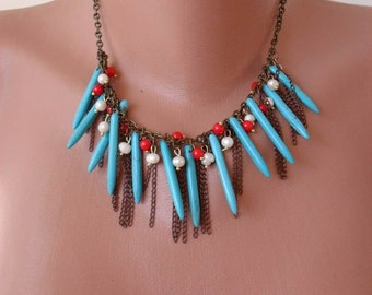 Turquoise - Coral and Pearl Necklace with Chain - Speacial Design